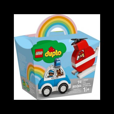 Lego Duplo Fire Helicopter and Police Car