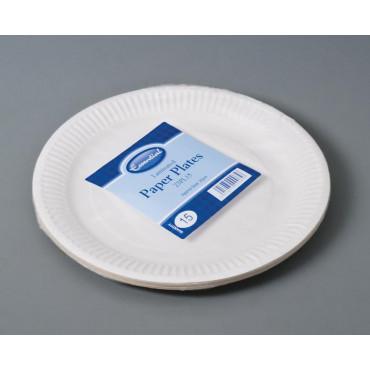 Paper Plates White 23Cm Pk 15