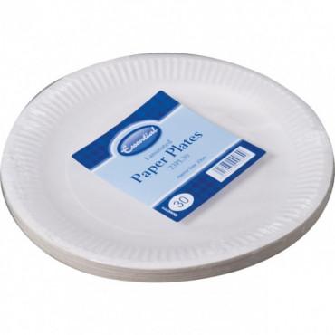 Paper Plates White 23Cm Pk 30