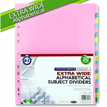 Extra Wide A-Z Subject Dividers - 20 Part