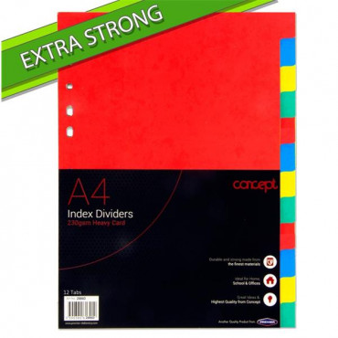 Extra Strong Index Subject Dividers- 230gsm 12 Par