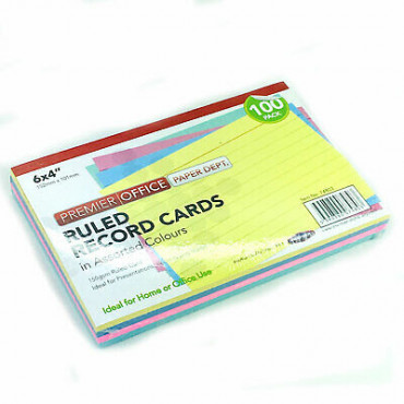 Record Cards Pk 100 Coloured 6X4