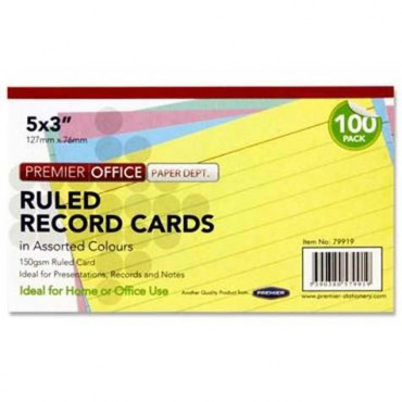 Record Cards Pk 100 Coloured 5X3