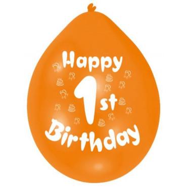 Balloons 1St Birthday Pk 10 Assorted