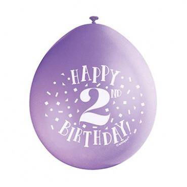 Balloons 2Nd Birthday Pk10 Assorted