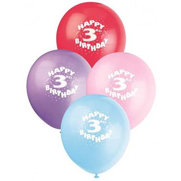 Balloons 3Rd Birthday Pk 10 Assorted
