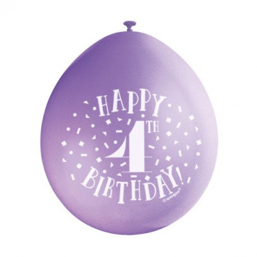 Balloons 4Th Birthday Pk 10 Assorted