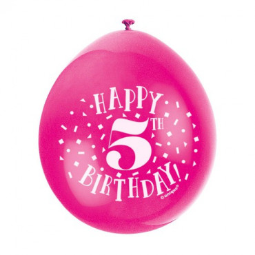 Balloons 5Th Birthday Pk 10 Assorted