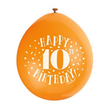 Balloons 10Th Birthday Pk 10 Assorted