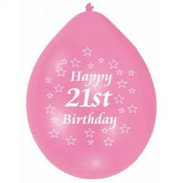 Balloons 21St Birthday Pk 10 Assorted
