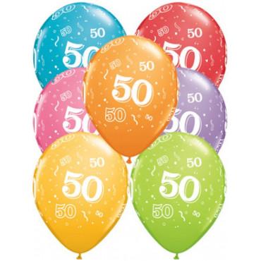Balloons 50Th Birthday Pk 10 Assorted