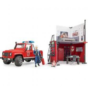Bworld Fire Station With Land Rover & Fireman
