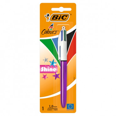 Bic 4 Colour Ballpoint Pen - Shine (Carded) 4 Asst