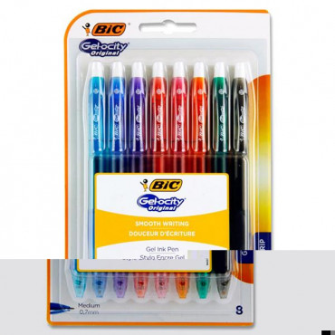 Bic Carded 8 Gel Pens Gelocity 0.7mm