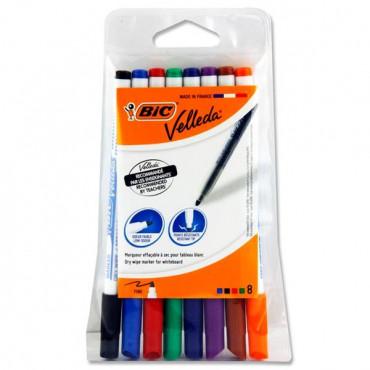 Bic Velleda Pkt.8 Asst Fine Tip Whiteboard Markers