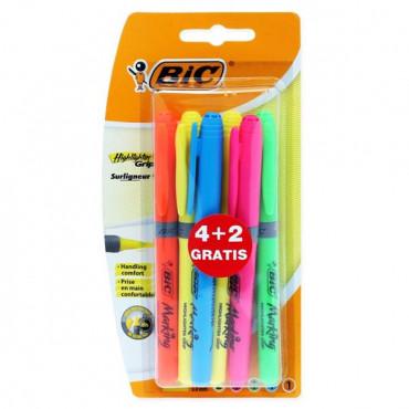 Bic Card 4+2 Grip Highlighter Pens