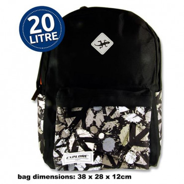 20ltr Backpack Black Peace Hoop