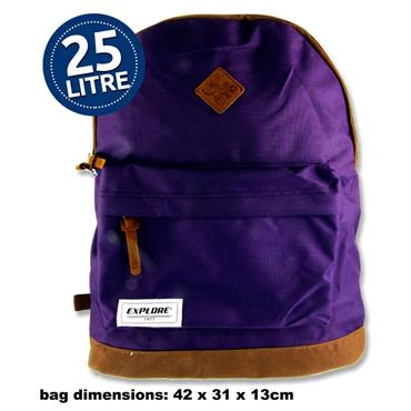 25ltr Backpack Purple and Tan