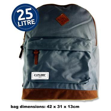 25ltr Backpack Grey and Tan