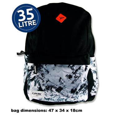 35ltr Backpack Black Abstract Hoop