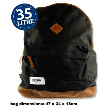 35ltr Backpack Black and Tan
