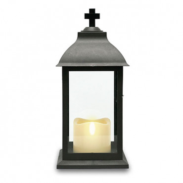 Grave Lantern With Led 12In