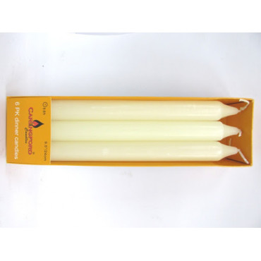 Dinner Candles Pk 6 White