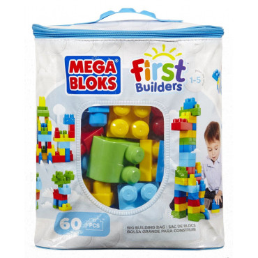Mega Blocks Building Bag 60pc Blue