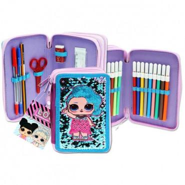 3 Tier Filled Pencil Case Sequin & Patch Lol Surpr
