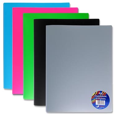 A4 20 Pocket Display Book 5 Assorted Single