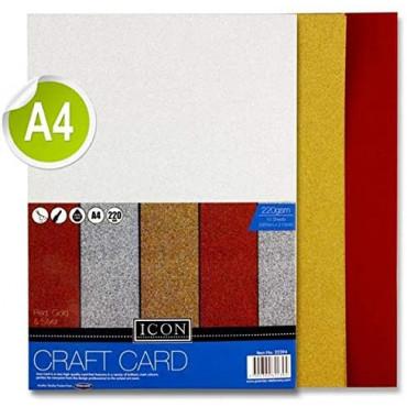 A4 Craft Card Glitter 220Gsm 10Pk