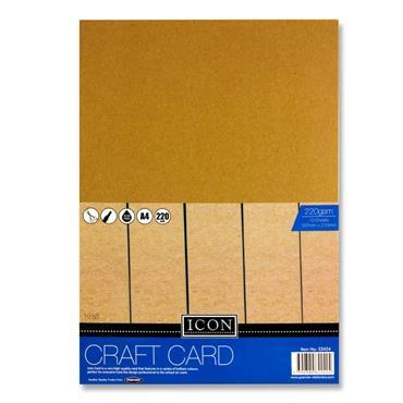 A4 Craft Card Kraft 220Ogsm 10Pk
