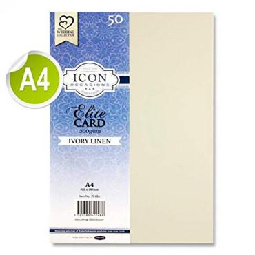 Pkt.50 A4 300Gsm Linen Card - Ivory