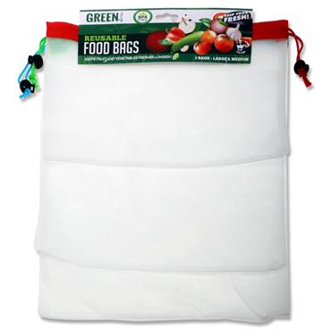 Pkt.3 Bpa Free Reusable Food Bags - Size M & L