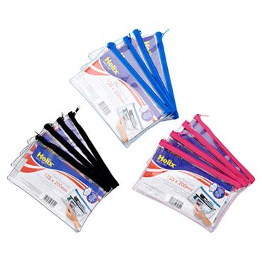 Helix Clear Pencil Case 3 Assorted 125x200mm