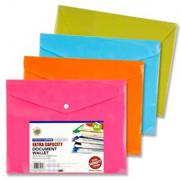 Bright A4 Extra Capacity Button Document Wallet