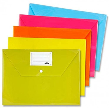 A4 Button Document Wallets 5Pk Bright