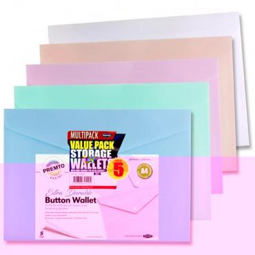 A4 Button Wallet Pk5 Pastel