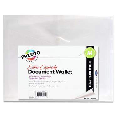 A4 Extra Capacity Document Wallet  Clear Pearl