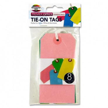 Tie On Tags Pk 8 Coloured