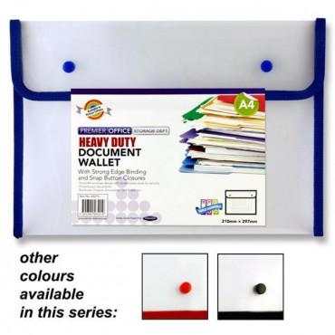 A4 Button Document Wallet Heavy Duty