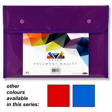 A4 Button Document Wallet Prism Assorted