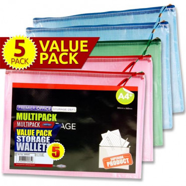 A4 Mesh Storage Wallet Pk 5 Assorted Colours