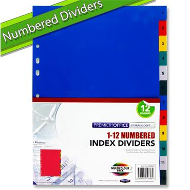 A4 1 to 12 Numbered Subject Dividers