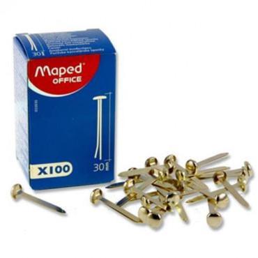 Box 100 Brass Fasteners - 30Mm