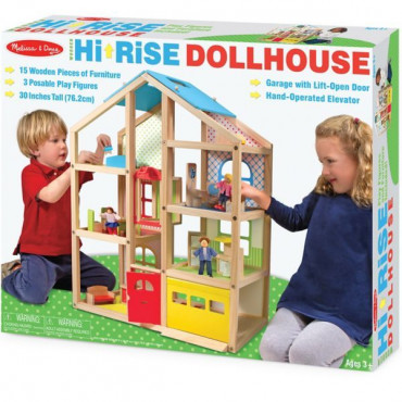 Hi Rise Doll House Wooden Melissa & Doug