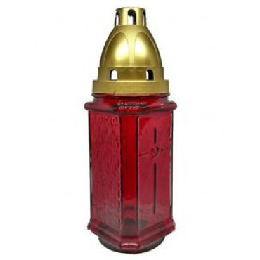 Grave Lantern Glass Red & Candle