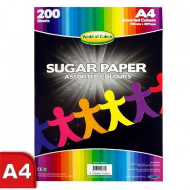 A4 Sugar Paper Assorted Colours 200 Sheets