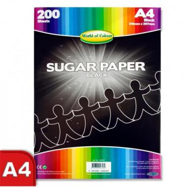 A4 Black Sugar Paper 200 Sheets