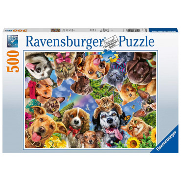 Animal Selfie Cat and Dog 500 Piece Puzzle
